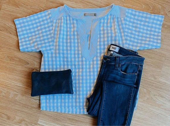 209 Group Blue Gingham Blouse