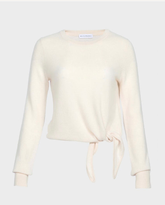 White & Warren Ivory Tie Front Cashmere Sweater