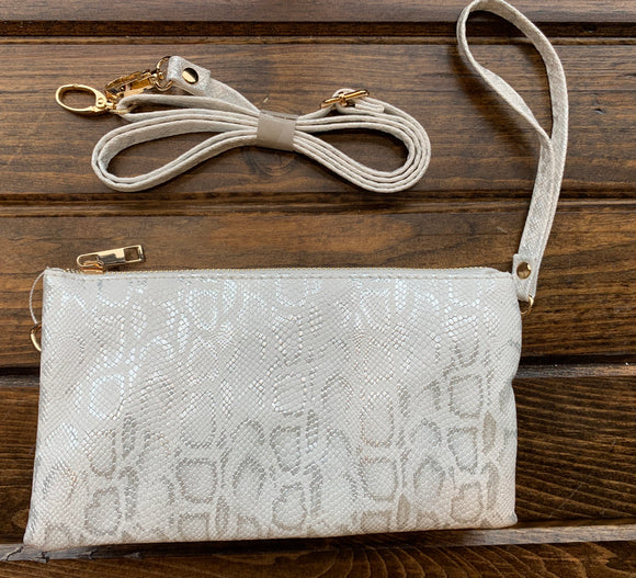 White / Silver Liz Custom Collection Crossbody Bag