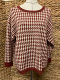 Callahan Rust Houndstooth Sweater