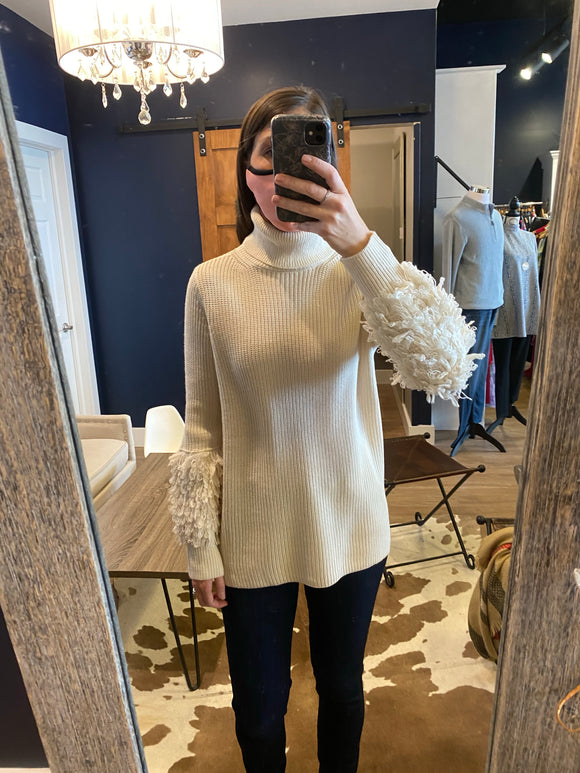 Sleeve Fringe Ivory Ribbed turtleneck
