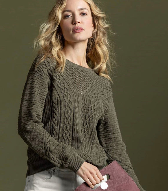 Olive Mixed Stitch Sweater