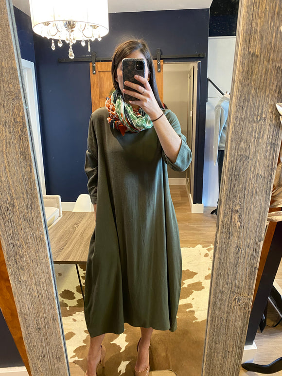 Green Cocoon Dress Midi 3/4 Sleeve