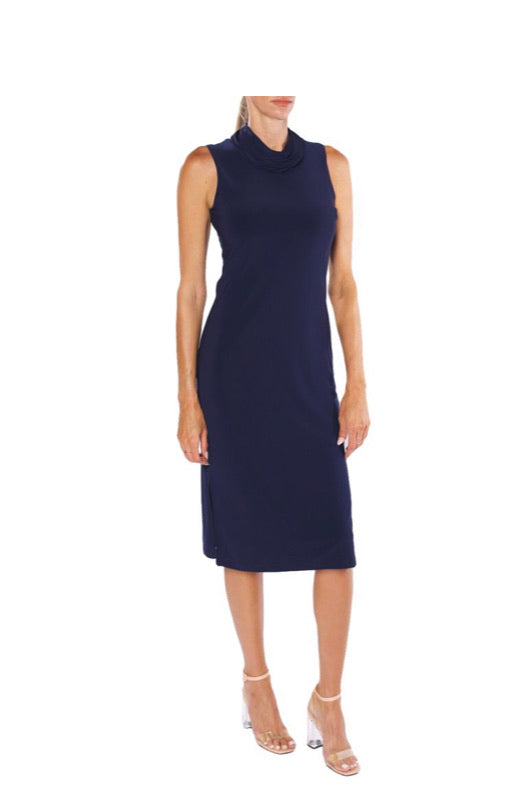 Navy Cowl Neck Midi Dress