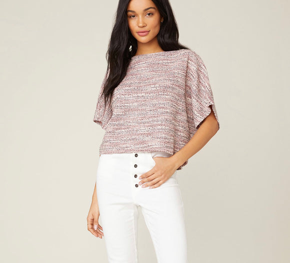 BB Dakota Rose Light Tweed Dolman Top