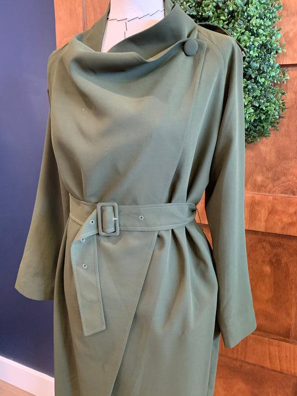 Chris Gramer Olive Military Trench ew Ribbon Detail