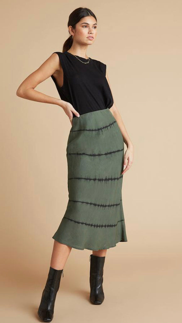 Green w Black Tie Dye Midi Skirt