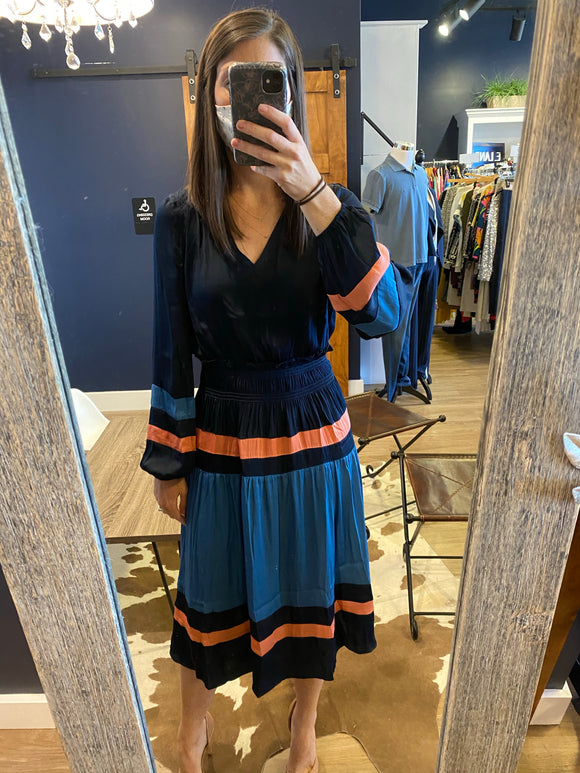 Navy Color Block V Neck L/S Dress