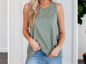 Dyaln Slub Cotton Tie Back Tank Green