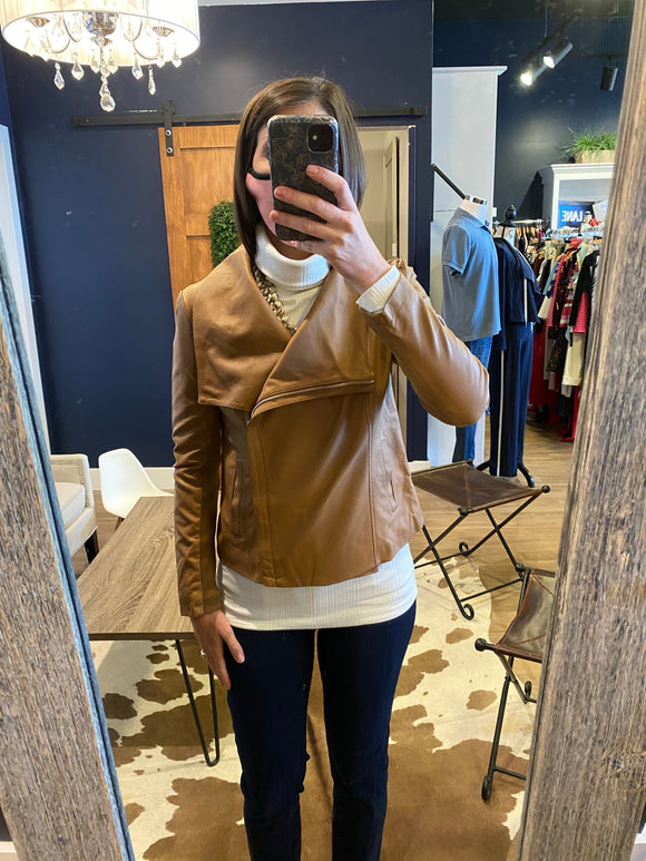 Carmel Faux Leather Side Zip Lapel Jacket