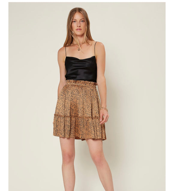 Animal Print Pleated Mini Skirt