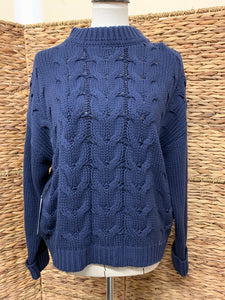 Callahan Navy High Neck Cable Knit Sweater