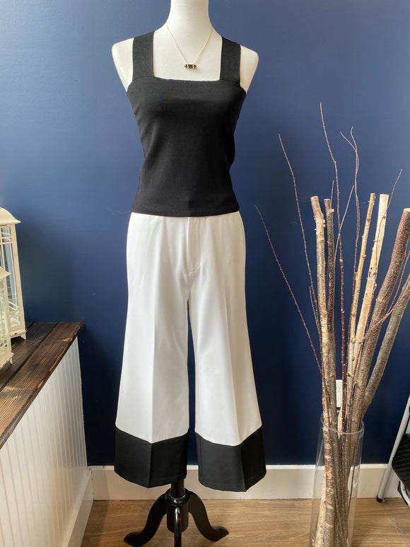 ECRU White/Black Color Block pant