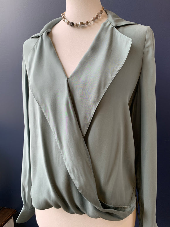 Symphony & Note Sage Silk Crossover Blouse