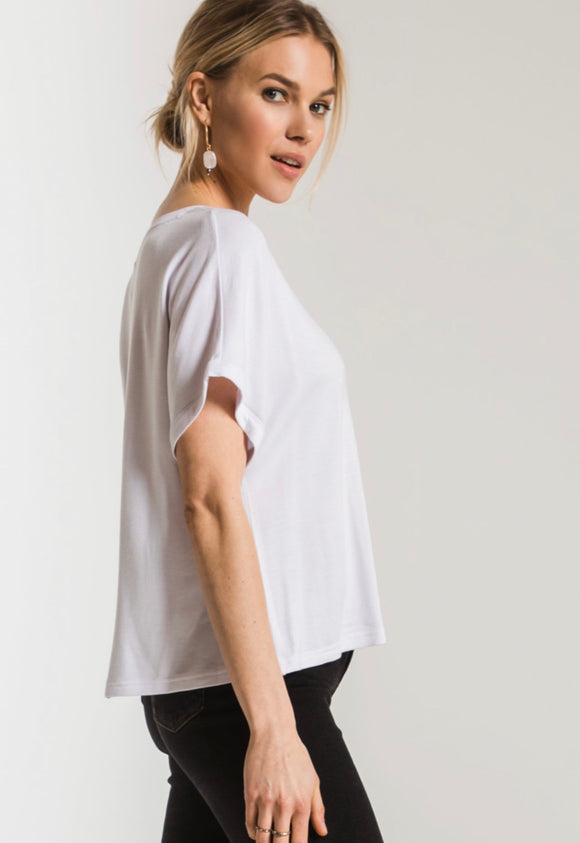Z Supply White Dolman V Neck Tee