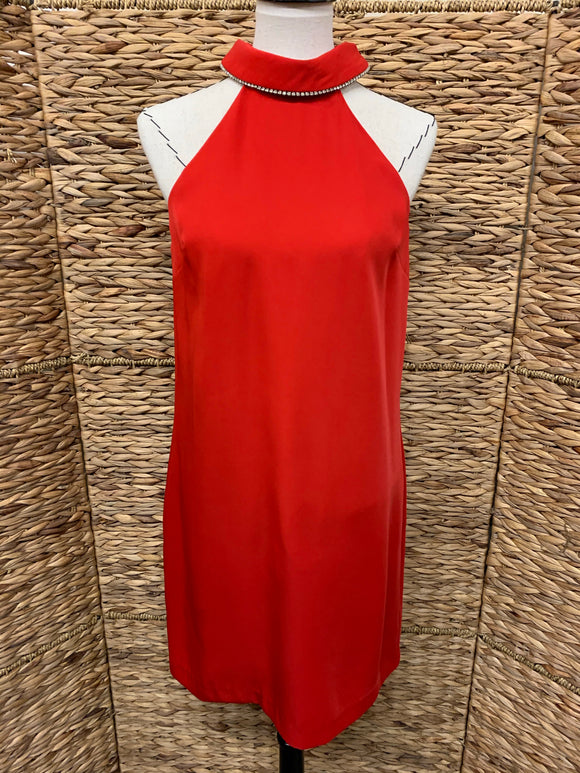 Trina Trina Turk Red Halter Dress w/ Rhinestone Collar