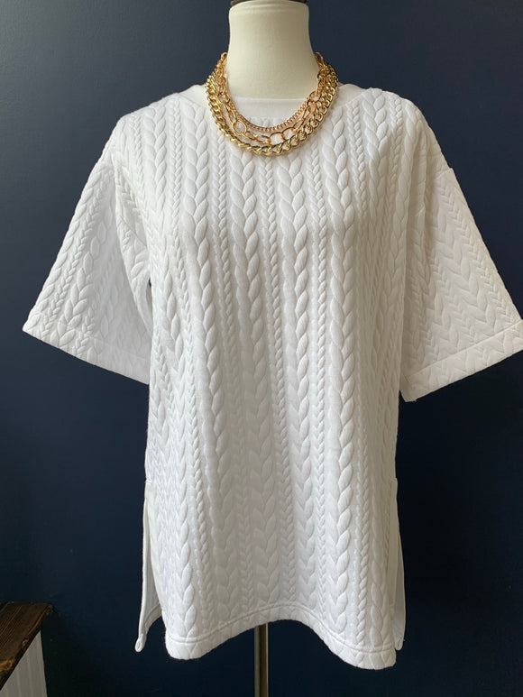 Lysse White Quilted Tie Back Tunic