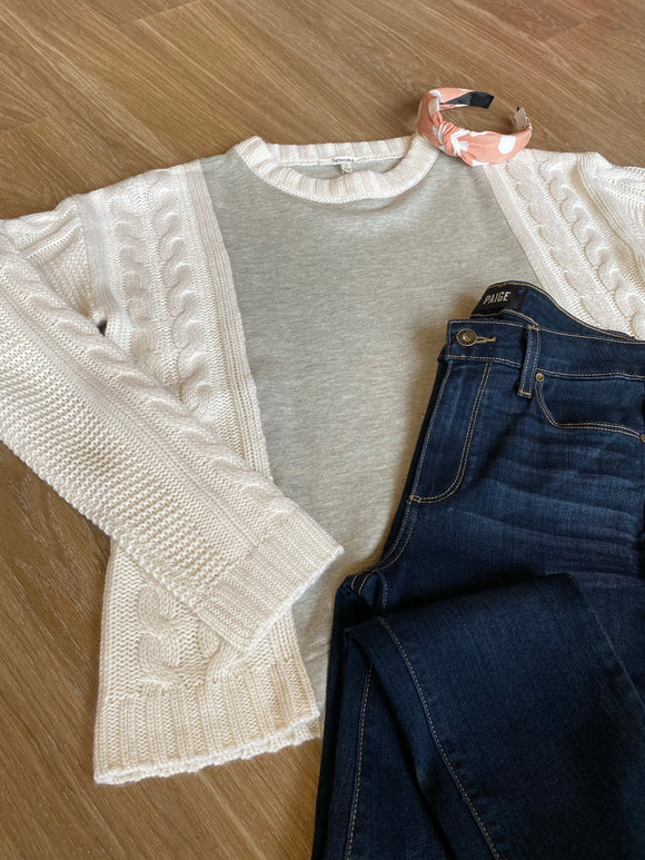Grey/Ivory Mixed Media Sweater