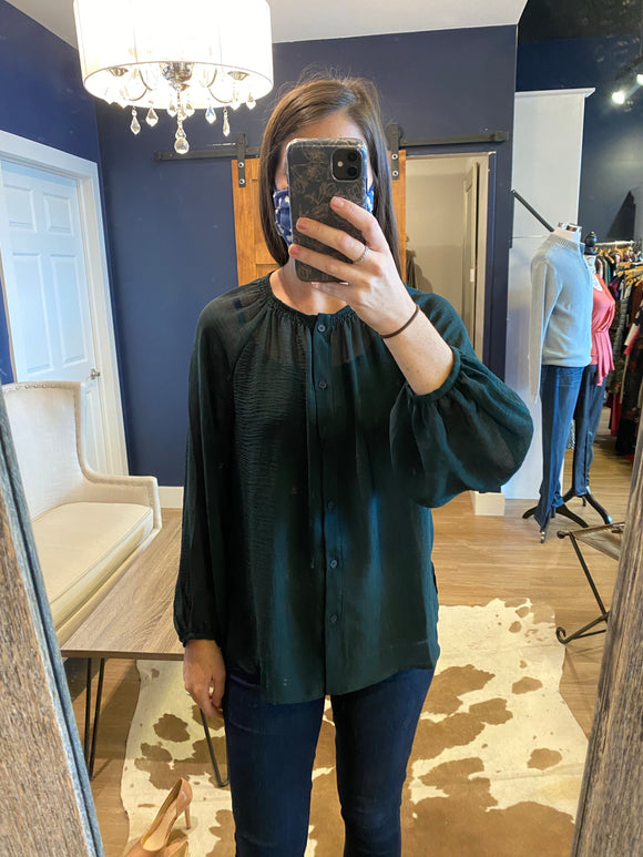 Dark Pine Smocked Neckline Blouse