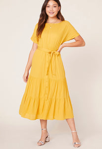 BB Dakota Yellow Multi Tiered Midi Dress