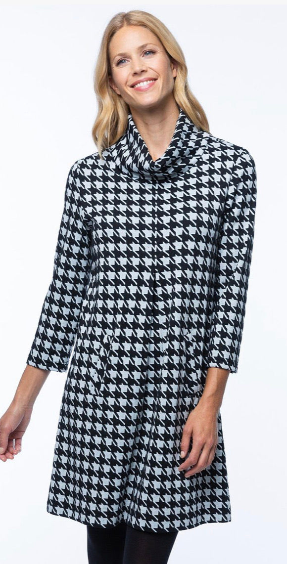 Oversized Houndstooth Cowl Neck Dress