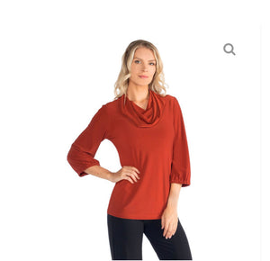 Rust Cowl Neck w/ Gathered Sleeve