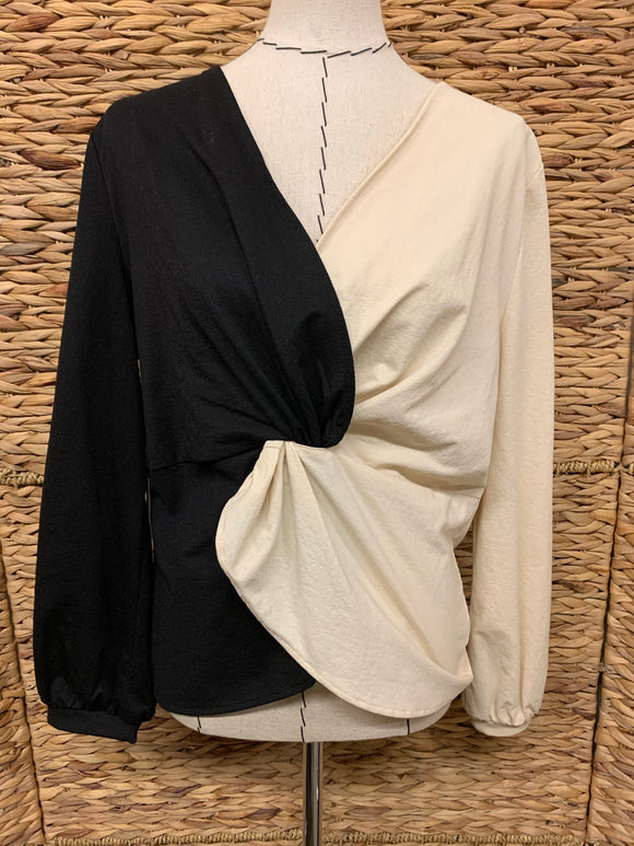 Callahan Black and Ivory Twist Top