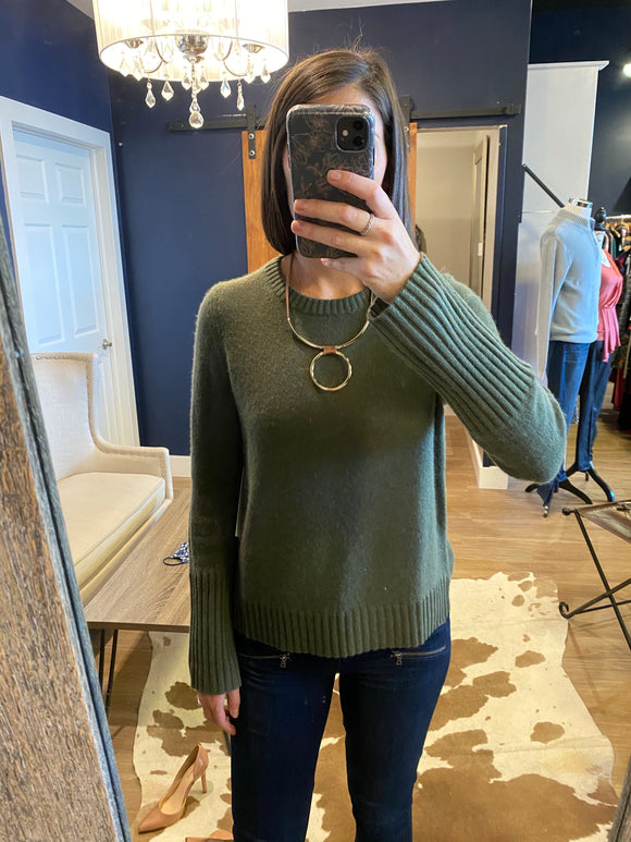 Olive Pointelle Detail Cashmere