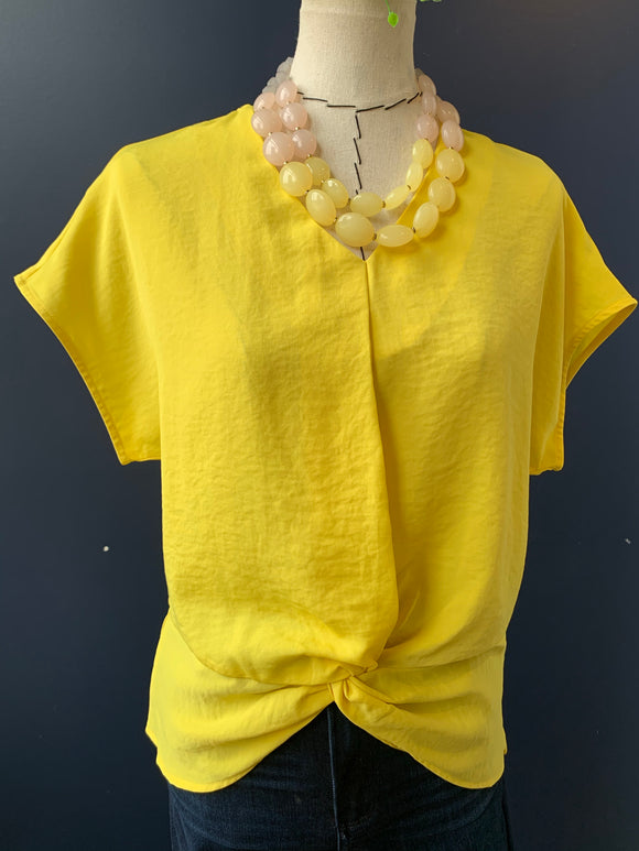 Patrizia Luca Yellow Knot Front blouse