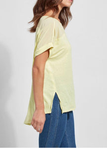 Lysse Citron Tee w Sheer Shoulder