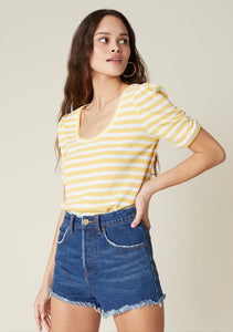 BB Dakota Yellow Stripe Plot Twist Tee