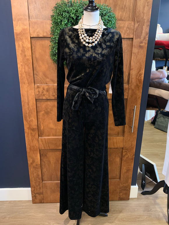 DREW Black w/ Gold Detail velvet Jumpsuit