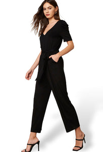 Black Puff Sleeve V Neck Jumpsuit