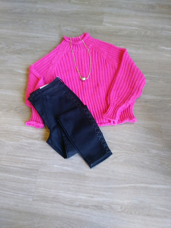 Hot PInk Chunky Knit Sweater