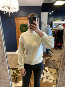 Ivory Fuzzy Mock Sweater w/ Beaded Sleeve