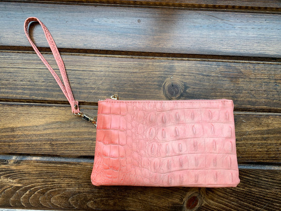 Coral Crocodile Liz Custom Collection Crossbody Bag