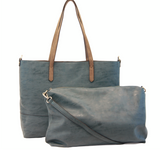 Blue Brushed 2 in 1 Tote