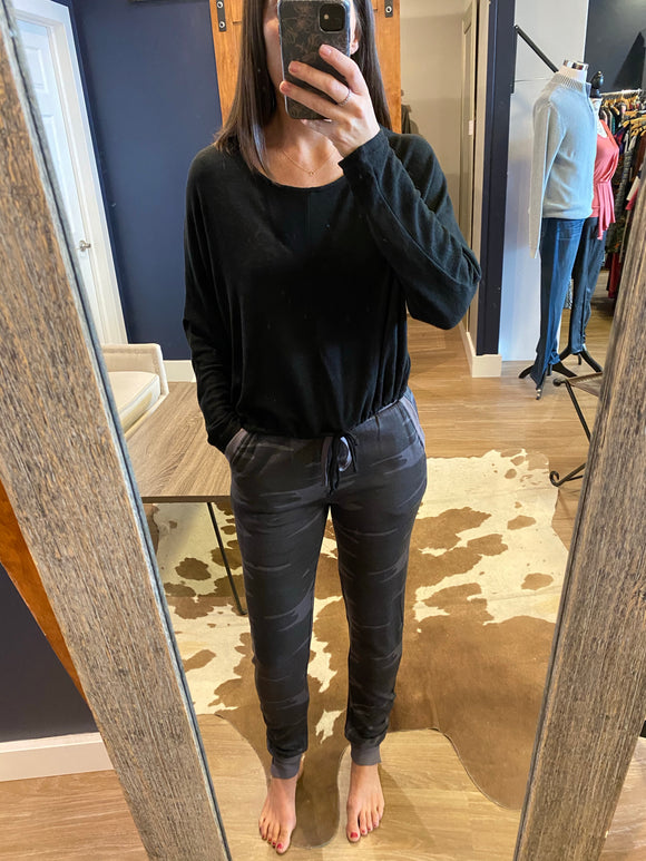 Black Tie Waist Slub Sweater