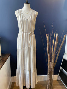 Splendid White and Grey Maxi Dress