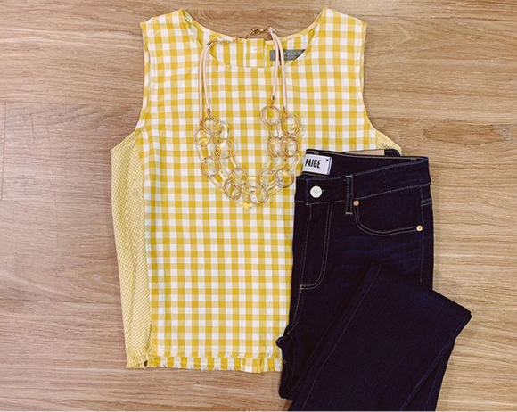 209 Group Gold Gingham Tank