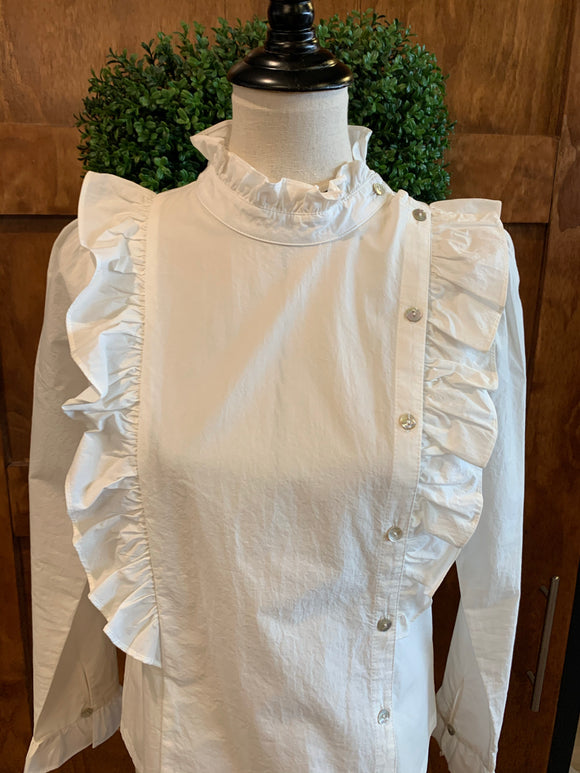 MoVint Off White Ruffle & Button Detail Blouse