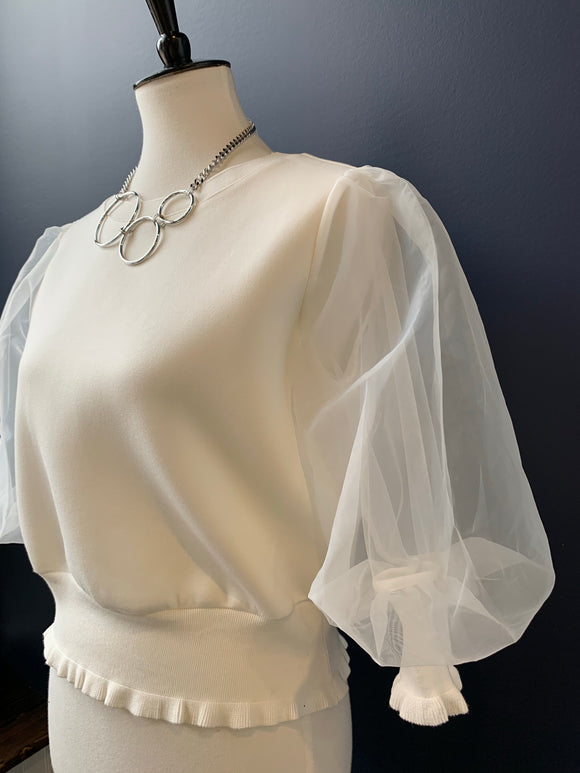 Gracia White Sheer Puff Sleeve