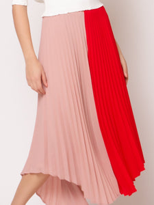 Gracia Pink/Red Pleated Skirt