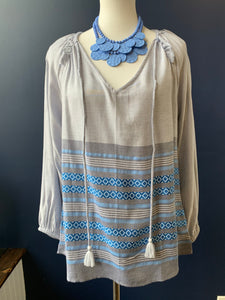 Dylan Chambray Stripe Peasant Blouse
