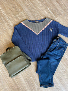 Navy Knit Sweater w/ Army and Blush V