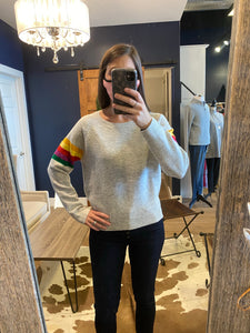 Grey Sweater w/ Striped Sleeve