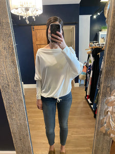 Ivory Boatneck Tuck Front Top
