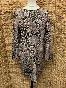 Tyler Boe Green/Black/pink Animal Print Silk Dress