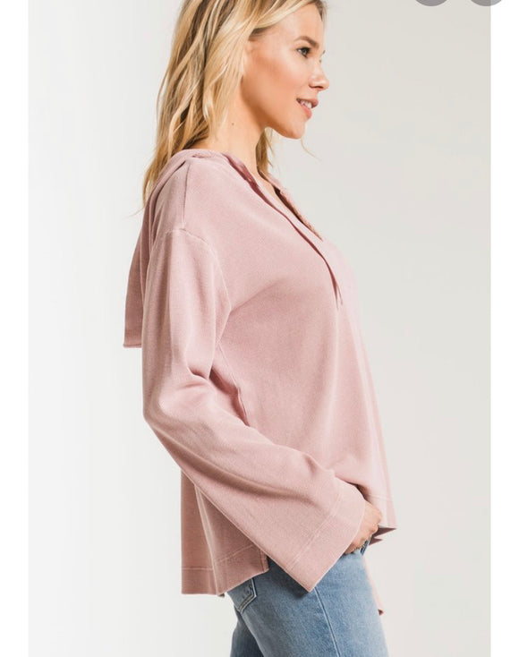 Z Supply Rose Light Waffle Hoodie