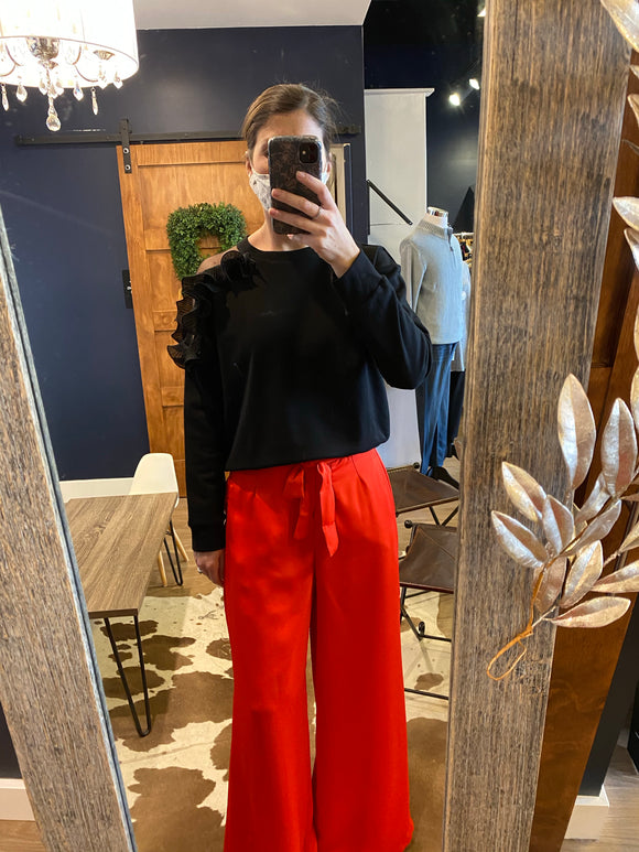 Red Wide Leg Pant w/ Waist Tie